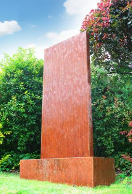 4ft / 1.2m Corten Steel Vertical Water Wall with colour changing LED lights