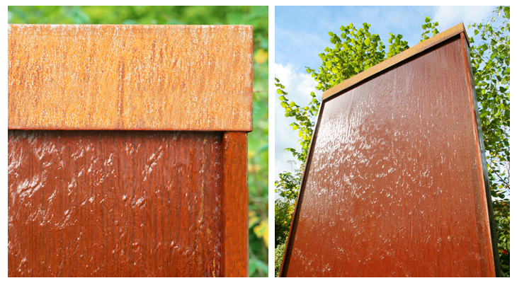 1.75m Corten Steel Vertical Water Wall with colour changing LED lights by Ambienté™