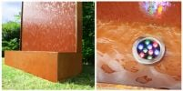 "5ft 7"" / 1.75m Corten Steel Vertical Water Wall with colour changing LED lights"