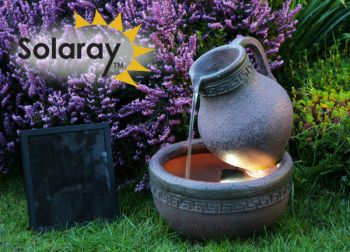 Terracotta Effect Jug and Bowl Solar Water Feature with Lights by Solaray™