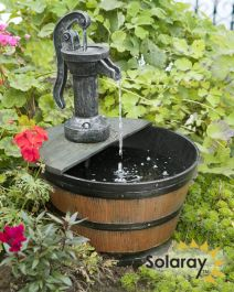 H54cm Tap and Half Barrel Solar Water Feature by Solaray