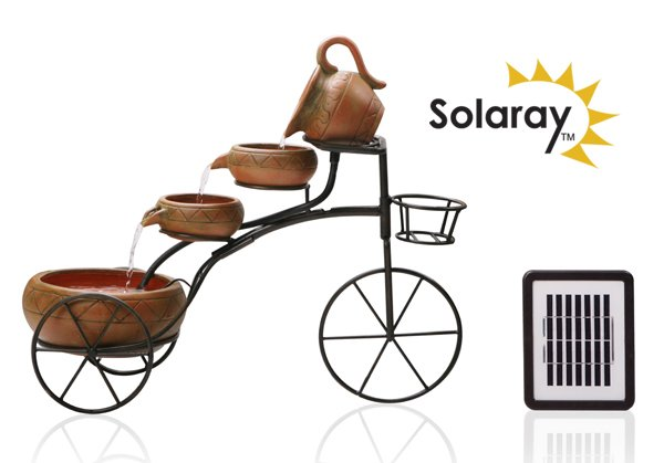 Solar 4 Tier Cascading Bicycle Water Feature with Planter Basket by Solaray™