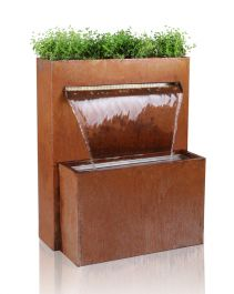 H89cm Langley Corten Steel Waterfall Cascade Planter with LED Lights by Ambienté™