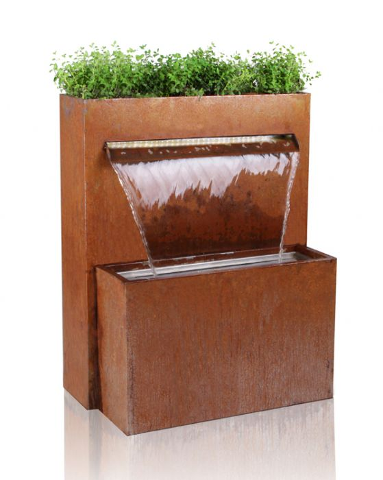 H89cm Langley Corten Steel Waterfall Cascade Planter with Lights by Ambienté