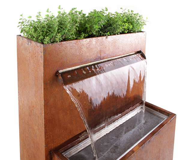 Langley Corten Steel Waterfall Cascade Planter with LED Lights - H89cm x W72cm