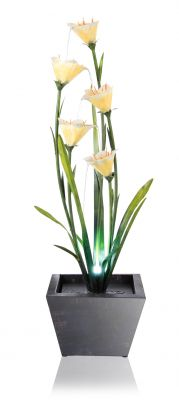 Golden Lily Garden Water Feature with Lights H100cm