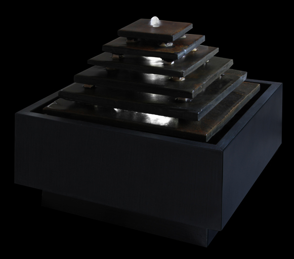 Aztec Pyramid Real Slate Water Feature with Lights