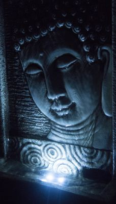H28cm Buddha Tabletop Water Feature with Lights by Ambienté™
