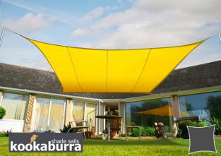 Kookaburra® 3.6m Square Yellow Party Sail Shade (Woven - Water Resistant)