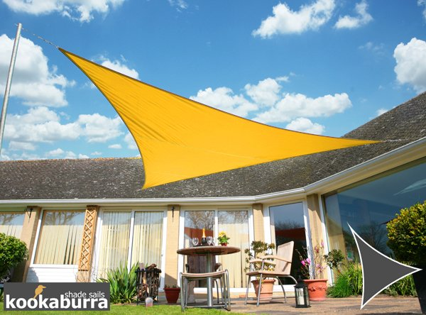 Kookaburra® 3m Triangle Yellow Party Sail Shade (Woven - Water Resistant)